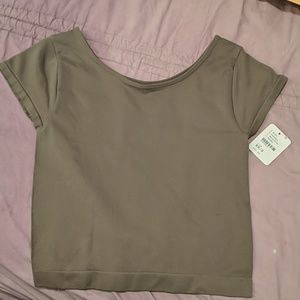 Free People stretchy taupe crop top